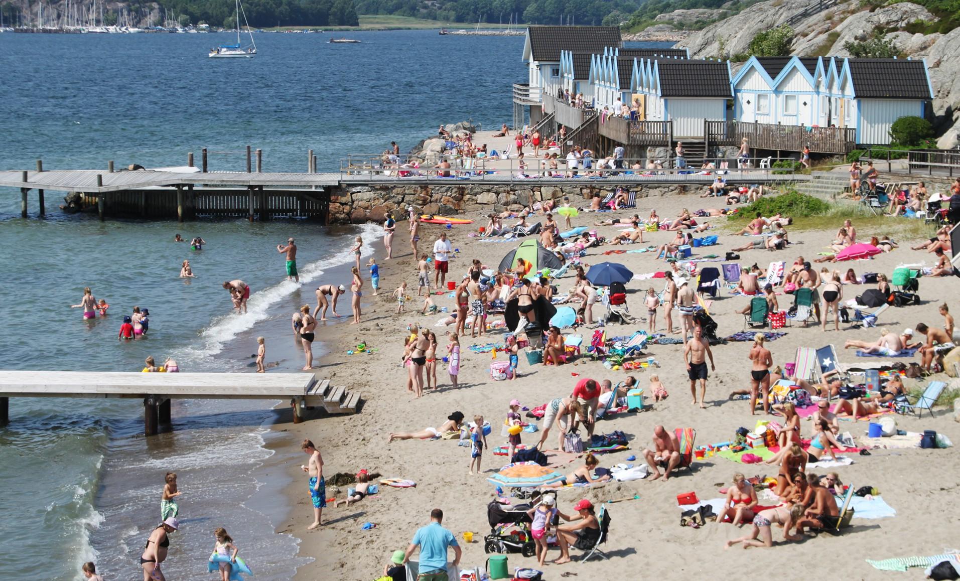 Badare på stranden